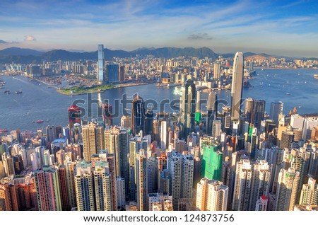 Victoria Harbour, Hong Kong, shot from the Peak.