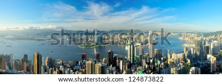 Victoria Harbour, Hong Kong, shot from the Peak. - stock photo