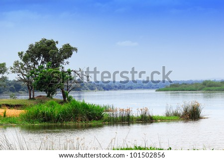 Victoria Nile river at early morning, Uganda, Africa - stock photo