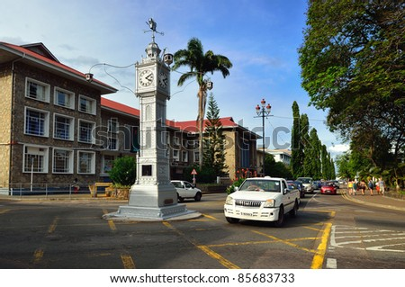 VICTORIA, SEYCHELLES - JULY 7: Victoria is smallest African capital shown on July 7, 2011, Mahe, Seychelles. Main attraction in the city a clock tower modeled on that of Vauxhall Clock Tower in London, England.
