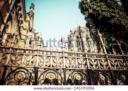 Victoria Terminus Train Station in Mumbai (India) - stock photo