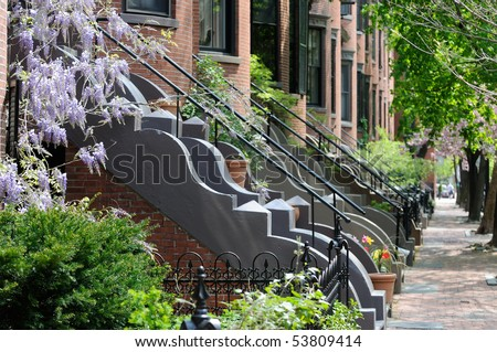 Victorian architecture of Boston South End residential district. Classic, elegant row house apartments - stock photo