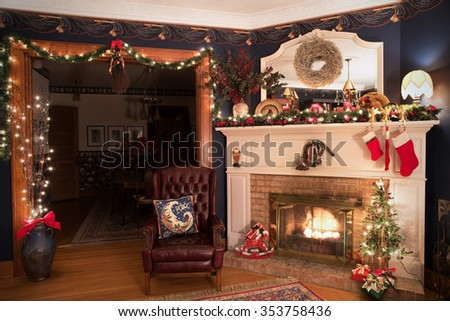 Victorian Christmas Living Room - stock photo