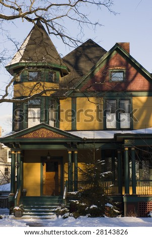 Victorian House Chicago suburbs. - stock photo