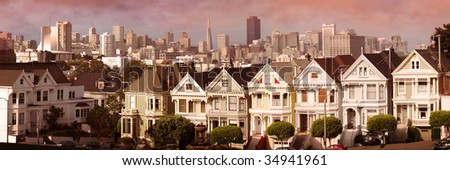 victorian house during sunset at San Francisco - stock photo