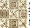Victorian period decorative arts printed panel tile with flowers - stock photo