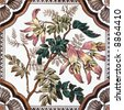 Victorian period decorative arts printed tile with flowers - stock photo