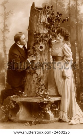 Victorian romance - couple in love - circa 1912 - compare to hand-tinted image number 2450259 - stock photo