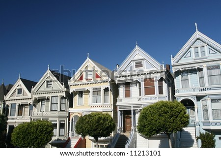 Victorian Row Houses in San Francisco - stock photo