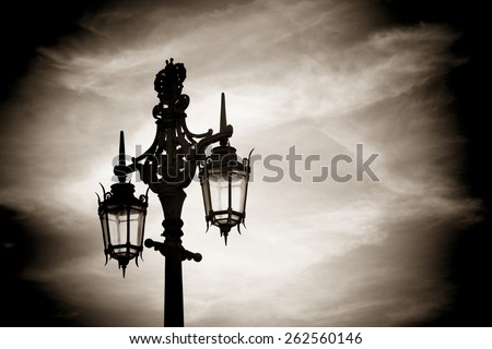 Victorian street lantern in Brighton, England - stock photo