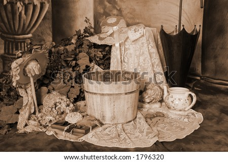 Victorian Style Photography Background (Insert Babies, Animals or Clients) - stock photo
