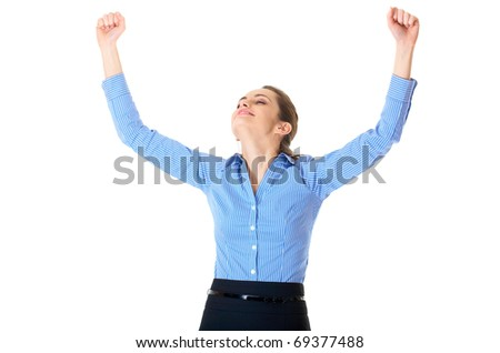victorious businesswoman show her joy, isolated on white