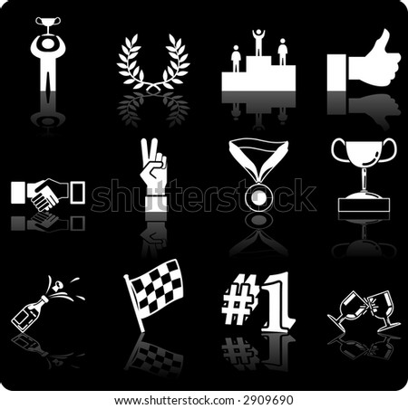 Victory and Success Icon Set Series Design Elements A conceptual icon set relating to victory and success. Raster version - stock photo