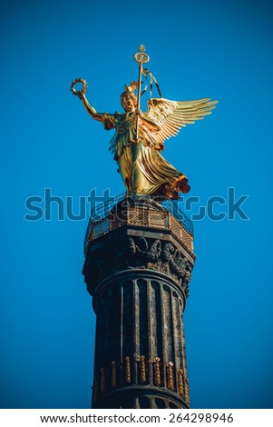 Victory Column Berlin.  statue of victory (siegessaule) - stock photo