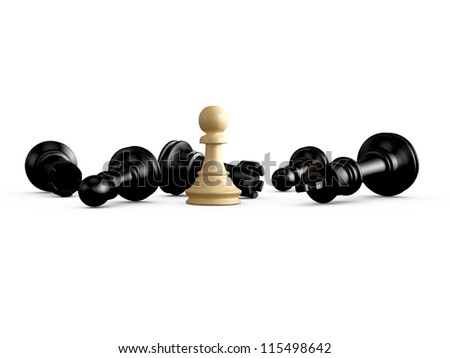 Victory, light pawn defeats dark king, rooks and pawns, isolated on white background. - stock photo