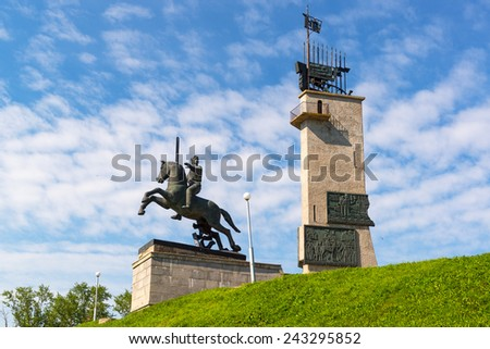 Victory Monument - a monument in honor of the Soviet victory over Nazi Germany in Novgorod the Great (Veliky Novgorod), Russia - stock photo
