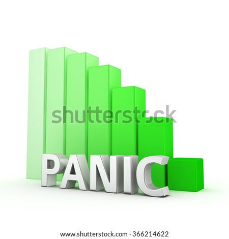 Victory over the stress and anxiety. Reducing the level of panics. The word Panic against going down green chart. 3D illustration about getting things done and keeping calm. - stock photo