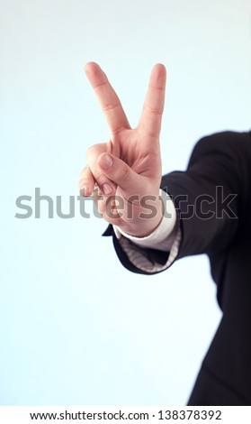 Victory sign - stock photo