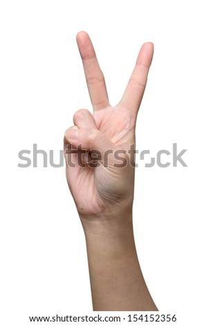 Victory sign from women hand - stock photo