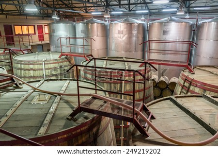 VICUNA, CHILE - JUNE 17: Interior of the Pisco Capel production facility in Vicuna, Chile on June 17, 2014.  Capel is the largest pisco producer in Chile