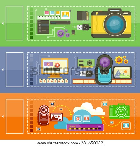 Video camera cinema tape. Monitor media player and video files. Video processing.  Cloud photo video storage icon. Upload photos. Photo processing concept. Photo camera with pictures. Raster version - stock photo