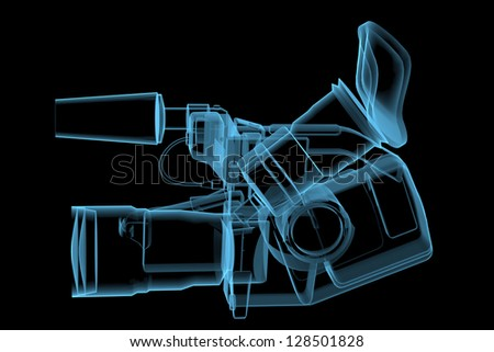 video camera 3d x ray blue transparent isolated on black