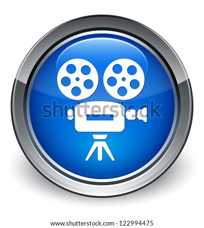 Video camera icon glossy blue button