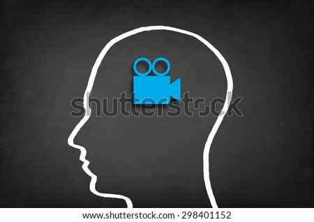 Video camera in head. Broadcasting concept. - stock photo