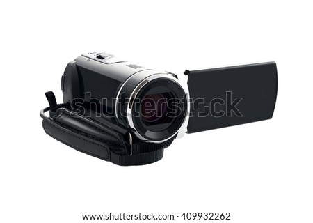 video camera isolated on the white background - stock photo