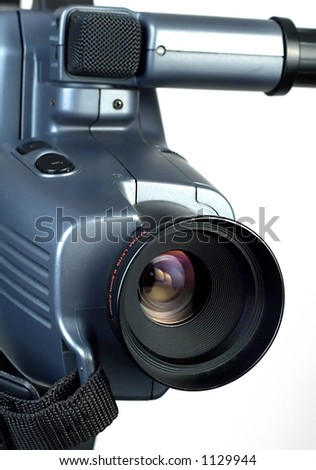 Video camera lens pointing to the right. 2 - stock photo