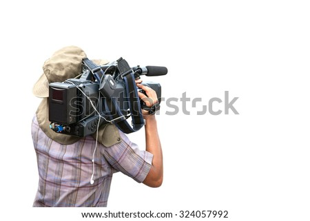 Video camera man operator isolated on white background,with clipping path  - stock photo