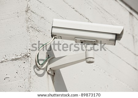 Video camera on a wall