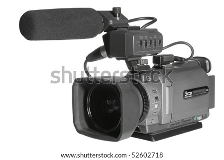 Video camera on a white - stock photo