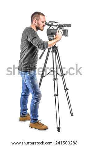 Video camera operator isolated on a white background - stock photo
