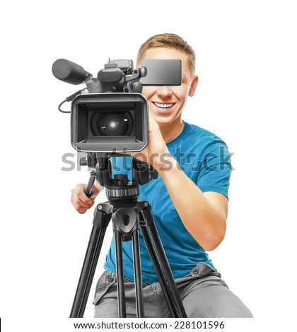 Video camera operator smile and working with his professional equipment isolated on white background