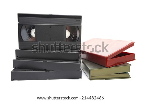 Video Cassette isolated on white - stock photo