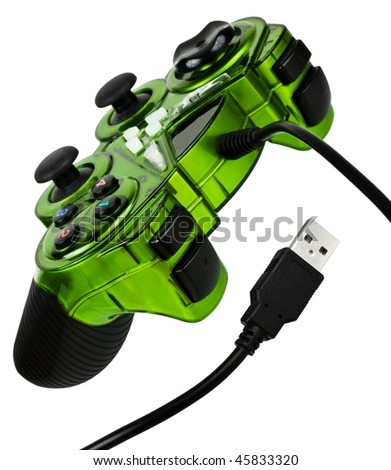 Video game controller with usb cord, isolated on white background - stock photo