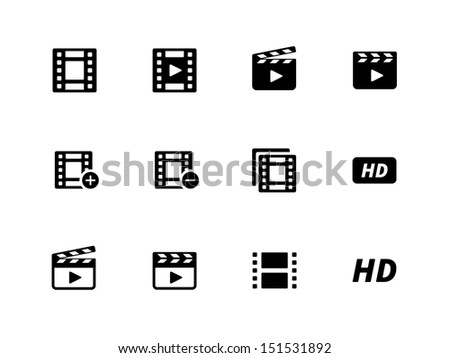 Video icons on white background. See also vector version. - stock photo