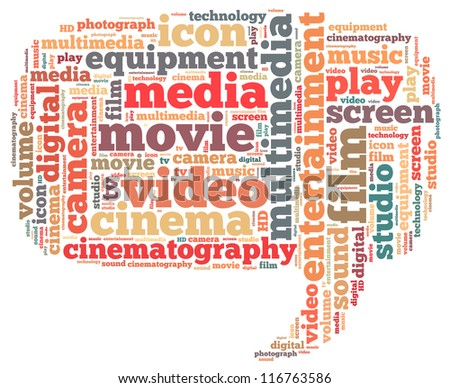 video info-text graphics and arrangement concept on white background (word cloud)