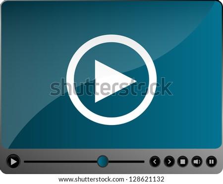 Video movie media player, raster - stock photo
