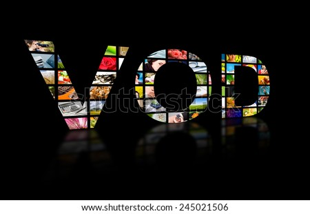 Video on demand abstract text ob black background. Tv concept. - stock photo