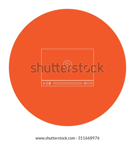 Video player for web. Flat white symbol in the orange circle. Outline illustration icon - stock photo