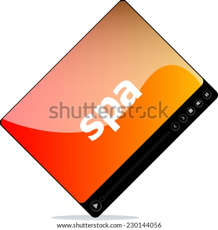 Video player for web, spa word on it - stock photo