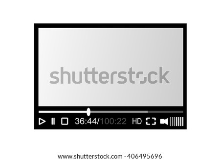 Video player, screen illustration isolated on white background. - stock photo