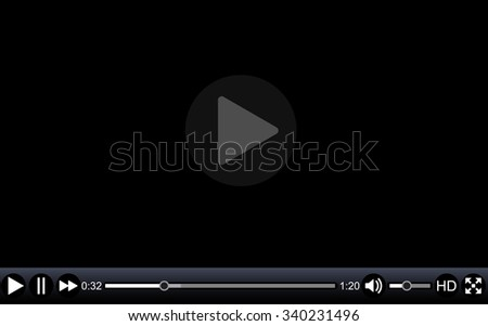 Video player template for web, movie screen  illustration.   Raster version.  - stock photo