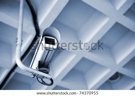 Video security camera inside of modern buildings. - stock photo