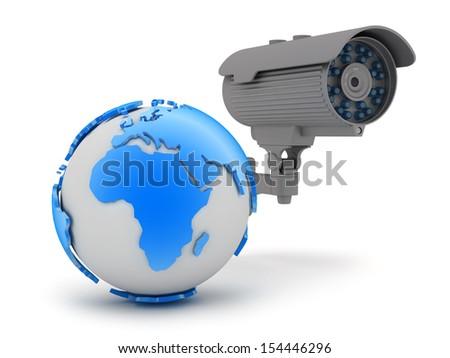 Video surveillance camera - stock photo