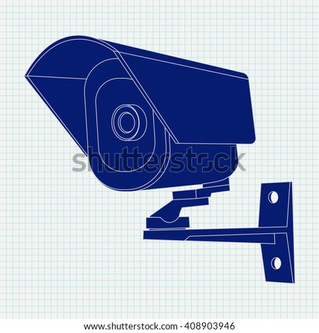 Video surveillance CCTV security camera Icon. Illustration  on a notebook sheet  background. Raster version