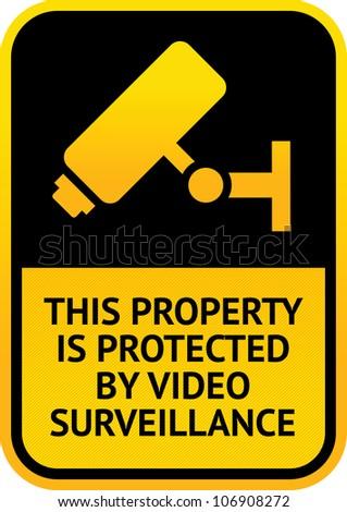 Video surveillance sticker - stock photo