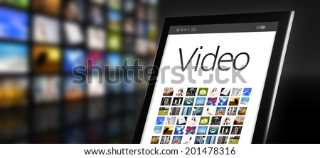 Video, tablet with many app icons - stock photo